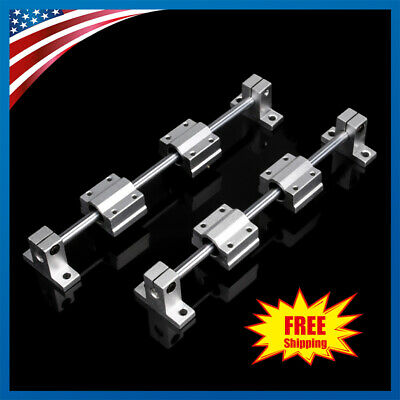 2x 200-400mm Linear Rail Shaft Rod 4pcs Scs8uu Bearing Block For 3d Printer Cnc
