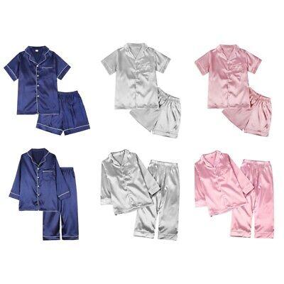 Toddler Baby Boy Girl Silk Pajamas Pyjamas Satin Set Child Sleepwear Nightgown