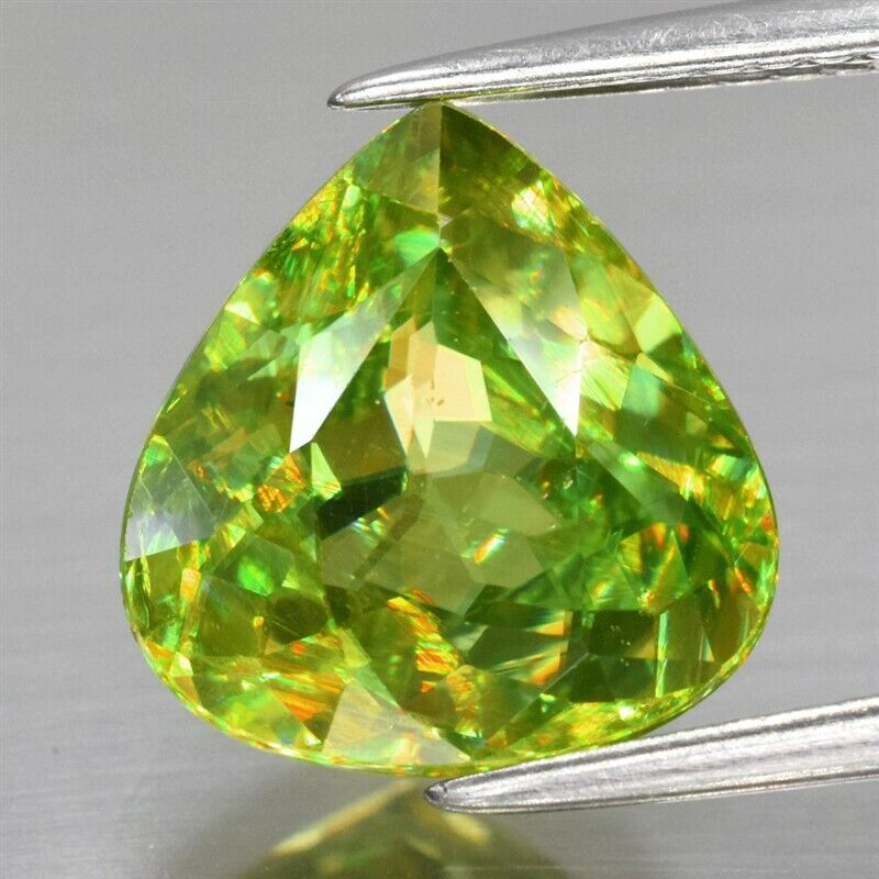 4.46ct 10.8x10.3mm Pear Natural Yellowish Green Sphene, Amazing Luster