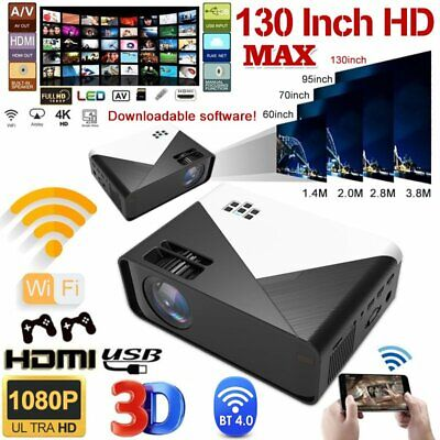 3D WiFi Wireless LED Projector Android Bluetooth 1080P HD Smart Home Theater USA