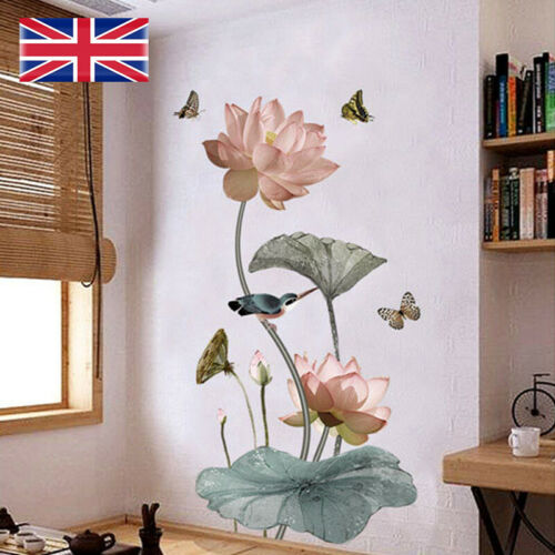 Home Decoration - Lotus Flower Chinese Calligraphy Wall Sticker Vinyl Decal Home Decor Art Mural
