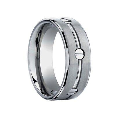 Titanium Wedding band Ring Men's Benchmark Size 10 with screws Benchmark Titanium Wedding Band