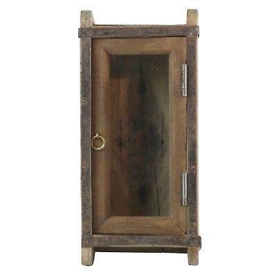 Vintage Wood Brick Mold Shadow Box Cabinet| Wall Shelf Door Hanging Rustic ()