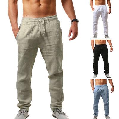 UK STOCK Men's Casual Cotton Linen Pants Retro Sport Solid Yoga Jogger Trousers