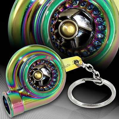 Universal Neo Chrome Turbo Charger Bearing Spinning Turbine Key Chain Ring FOB