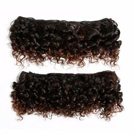 "8"" Deep Curl Natural Afro Hair Weft Extensions - Dark Brown and Auburn Mix at KODE-STORE"