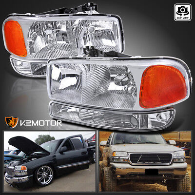 1999-2006 GMC Sierra Yukon XL Crystal Front Headlights+Bumper Parking Lights (Gmc Front Light)