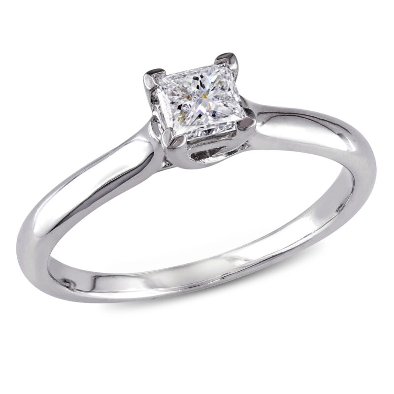 Amour 1/2 Ct Tw Princess Cut Diamond Solitaire Ring In 14k White Gold