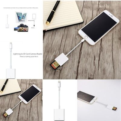 For iPad iPhone XR XS 7 8 6s Plus OTG Adapter to SD Card Camera Reader Photos US