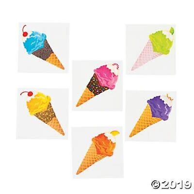 Ice Cream Party Favors (72 Ice Cream Cone Temporary Tattoos Kids Birthday Party Favors Gifts)