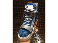 Giuseppe Zanotti Snakes-skin Blue, Silver & White High-Top Trainers - Fully boxed