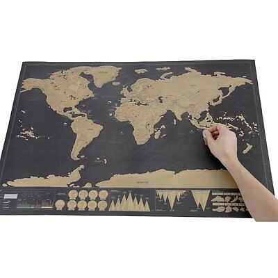 2017 Deluxe Travel Edition Scrape Off World Map Poster Personalized Journal Log