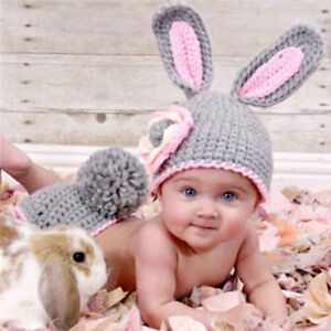 Newborn knitted Rabbit Outfit for photoshoot