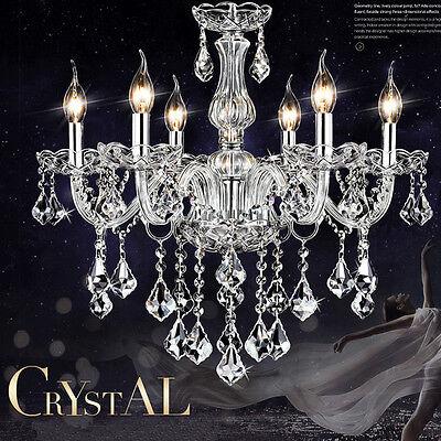 6 Leuchten Deckenlampe E14 Kristall Pendelleuchte Hängeleuchte Kronleuchter