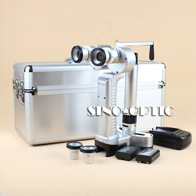 Portable Handheld Slit Lamp Microscope Led Lamp Alu. Carry Case 2 Batteries
