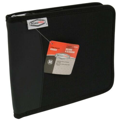 "ROADPRO LB-001BK Zippered 3 Ring Log Book Binder 8 1/2"" x 10.5"" -Black"