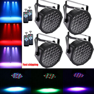 4pcs 36 LED Stage Lighting DMX512 RGB Par Can Flat DJ Disco Bar Uplighter Lights
