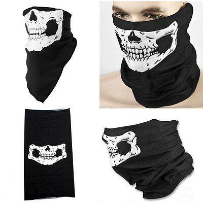 Black White Seamless Skull Face Mask Neck Breathable Skeleton Headwear Scarf CIT