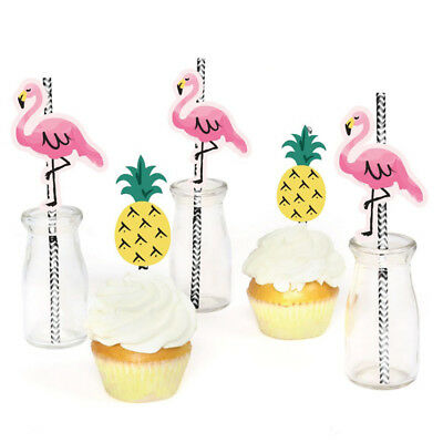 Hawaiian Tropica Flamingo Pineapple Black and White Party straw, 24 Pcs.](Black And White Straws)