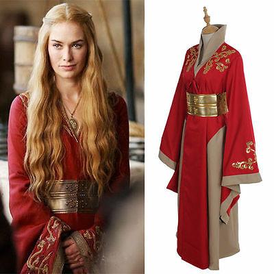 Game Of Thrones Queen Cersei Lannister Red Luxury Dress Cosplay Costume Us Ship