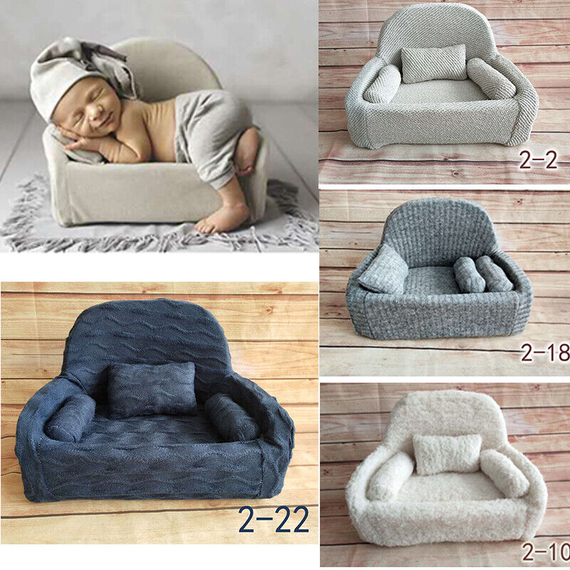 Newborn Baby Photo Props Small Sofa Seat 3 Cushions Photography Pose Shoot Chair