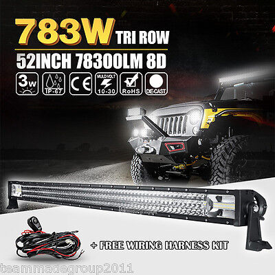 TRI ROW 52INCH 78300LM CREE LED LIGHT BAR WORK DRIVING CAR LAMP COMBO BEAM 4X4WD