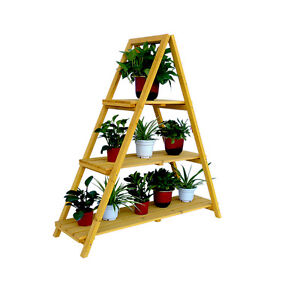 WOODEN LADDER PLANT STAND, CEDAR, YARD, PATIO, TERRACE, GARDEN