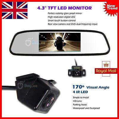 "Car Reversing Rear View Kit Night Vision IR Camera + 4.3"" TFT LCD Mirror Moniter"