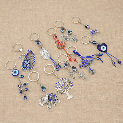 Cross Keychain (Evil Eye Swan Life Tree Cross Charm Pendant Key Chain Bag Car Keyring)