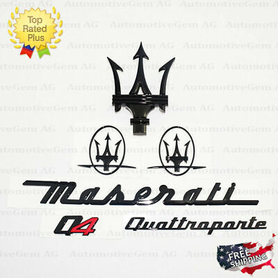 Maserati Emblem Quattroporte Q4 Grille Trident Side Logo Black Badge Set Kit