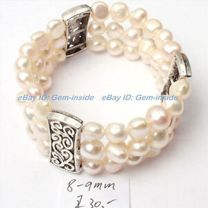 8-9mm white natural freshwater pearl strand bracelet bangle stretch 7