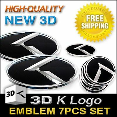 3D K Logo Emblem Set 7p Grill Trunk Sreering Wheel For KIA 2017-2018 Sportage QL