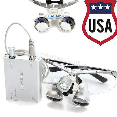 Usa- Dental Led Light3.5x 420mm Surgical Medical Binocular Loupes Loupe Flip-up