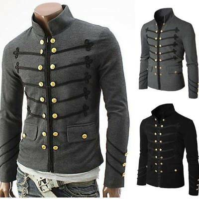 Vintage Mens Military Jacket Rock Victorian Gothic Coat Steampunk &