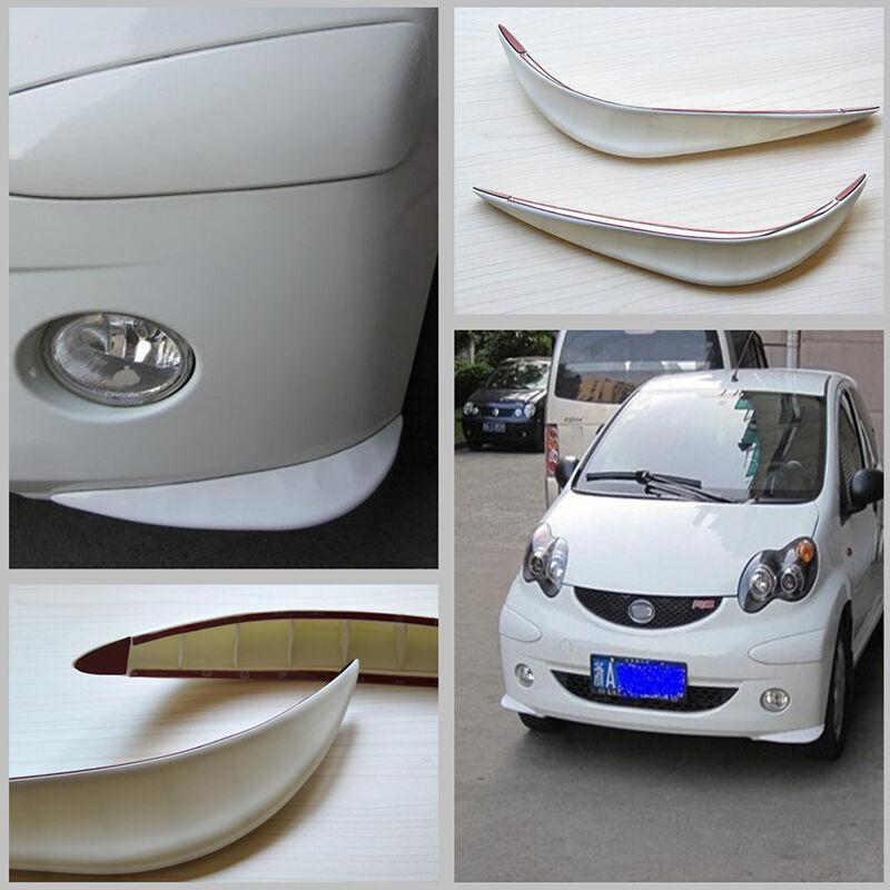 2x White PVC Car Bumper Protector Streamline Anti-rub Rubbing Crash Strip Cover