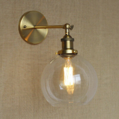 Modern Glass Globe Wall Sconce Antique Brass / Black Light Wall Lamp Lighting ()
