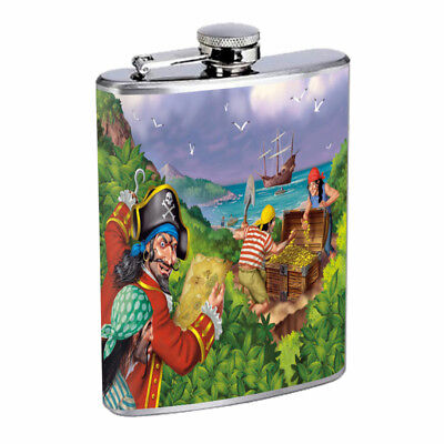 Pirate Treasure D3 Flask 8oz Stainless Steel Hip Drinking - Pirate Flask