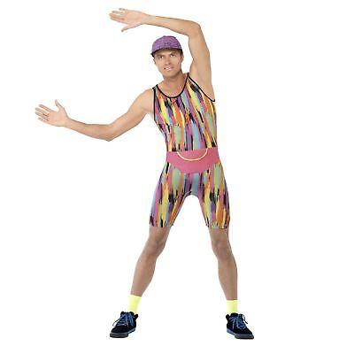 Adult Mens Neon Aerobics Teacher Leotard Sports Relief Fancy Dress Stag Costume
