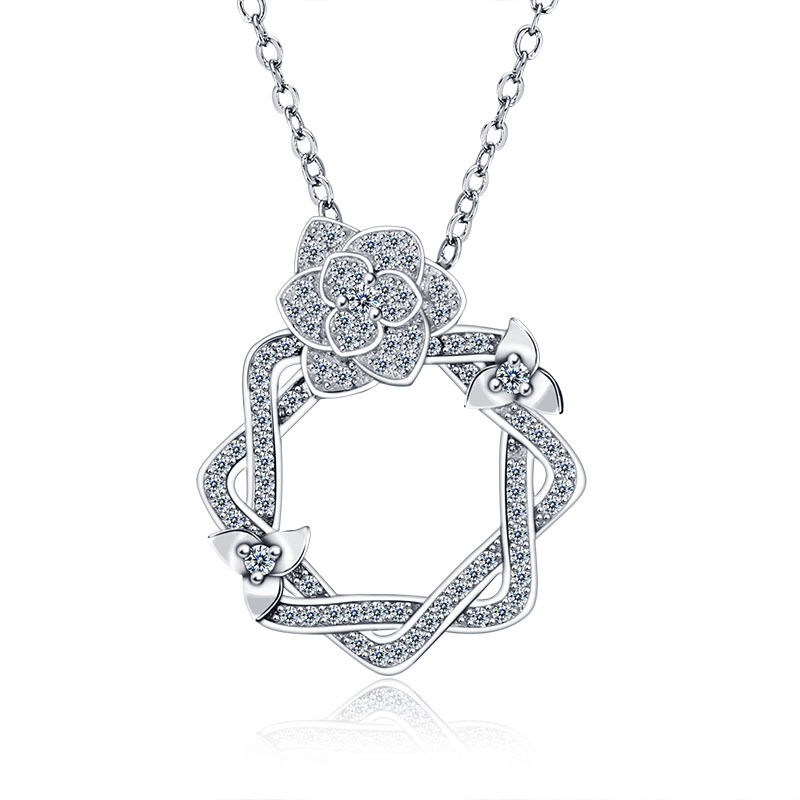 ROSE .925 STERLING SILVER CZ STONE PENDANT NECKLACE CHAIN WOMEN
