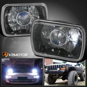 2PC 7X6  Square H4 Diamond Projector Headlights Head Lamps Black w/H4 Bulbs