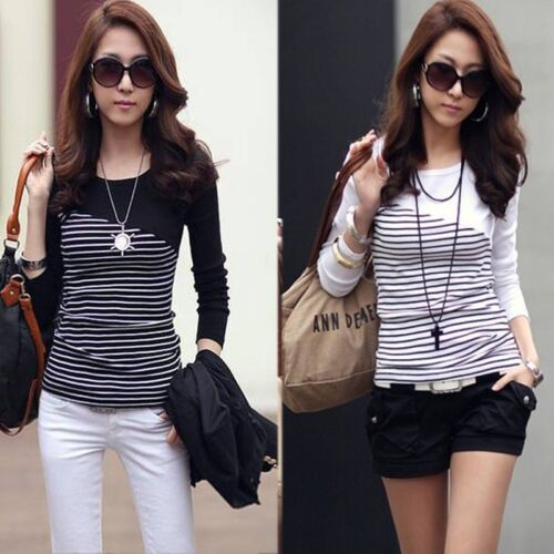 Korean Women's Striped Slim Long Sleeve Casual Career Tops Blouse T-shirt 3Color