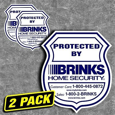 Security Home Brinks Alarm System Sticker Decal Sign Window Outside Warning 2pc
