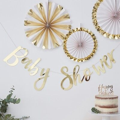 Ob Garland (Baby Shower Party Gold Foiled Baby Shower Bunting Script Garland - Oh Baby!  )