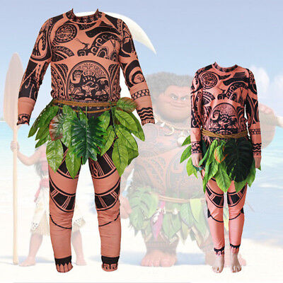 Halloween Adult Mens Moana Maui Tattoo T Shirt Pants Grass Skirt Cosplay Costume - Halloween Cosplays