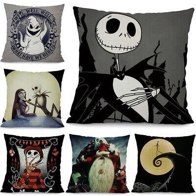 Nightmare Before Christmas Cushion Cover Cotton Linen Throw Pillow Cover Home (Nightmare Before Christmas Cushion)
