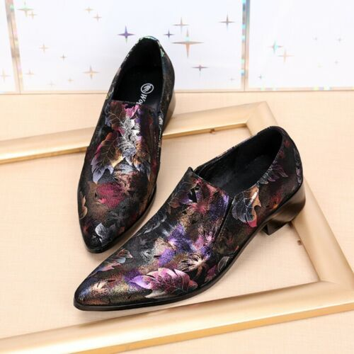 Men Business Dress Formal Shoes Floral Pointed Toe Leather Casual Barber Size 42