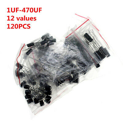 120pcs 12 Values 1uf-470uf Assorted Electrolytic Capacitor Assortment Kit Radial