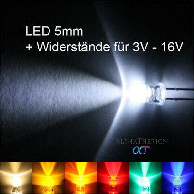 eiß, Gelb, Orange, Rot, Grün, Blau + Widerstände 3V - 16V (M Und M Grün)