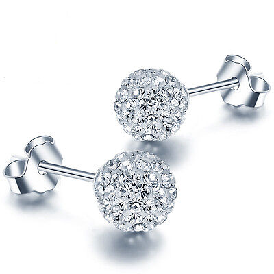 Women 925 Sterling Silver Ball Jewelry Lady Elegant Crystal Ear Stud Earrings
