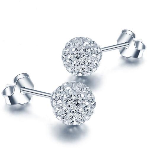 Earrings - Women 925 Sterling Silver Ball Jewelry Lady Elegant Crystal Ear Stud Earrings